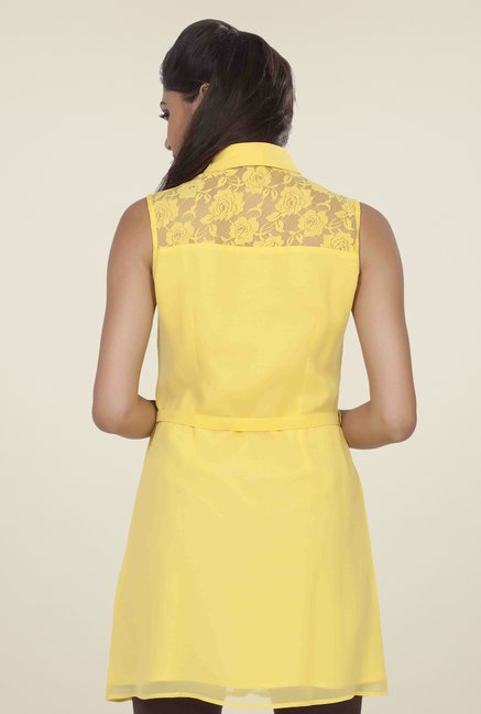 Soie Yellow Lace Tunic