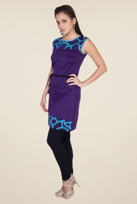 Soie Purple Solid Dress