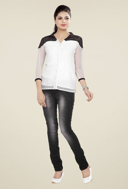 Soie White Solid Top