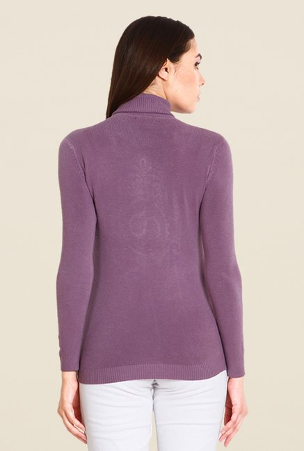 Soie Purple Self Print Cardigan