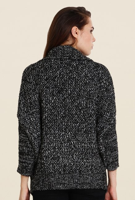 Soie Black Self Print Cardigan