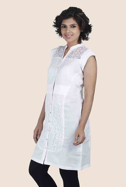 Soie White Lace Tunic