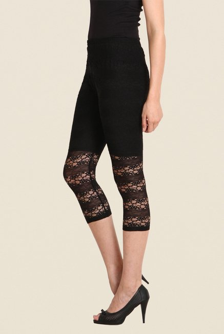 Soie Black Embroidered Leggings