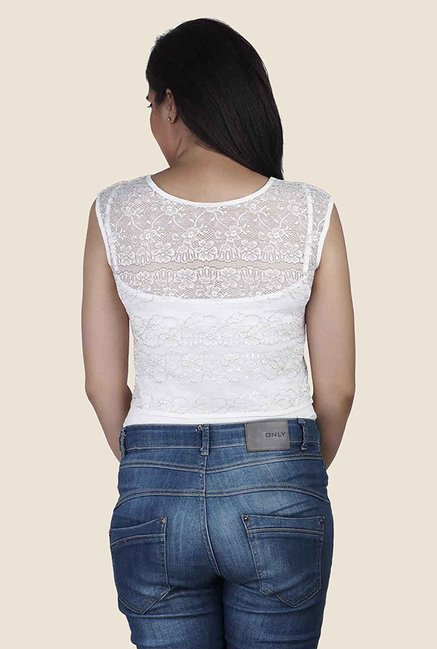 Soie White Lace Sleeveless Top