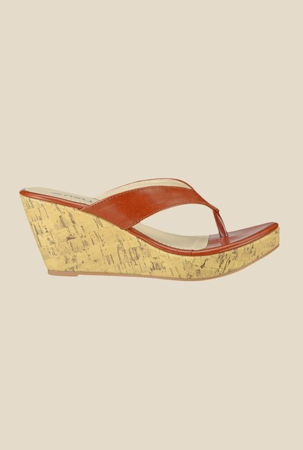 Nell Tan Wedge Heeled Thong Sandals