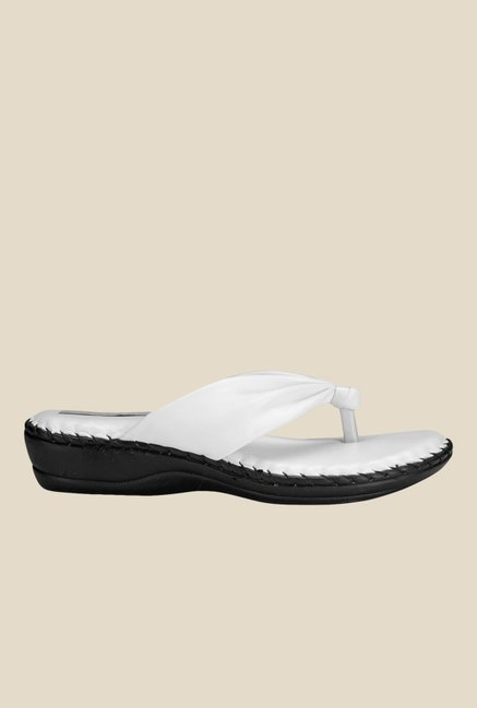 Nell White Thong Sandals