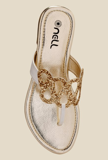 Nell White & Golden T-Strap Sandals