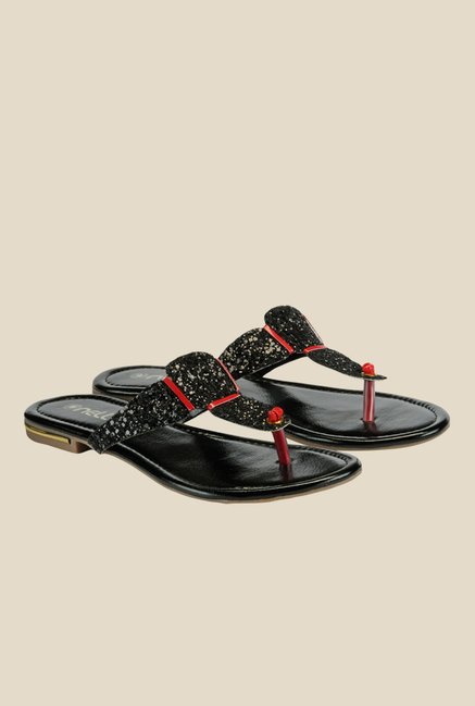 Nell Black & Red T-Strap Sandals