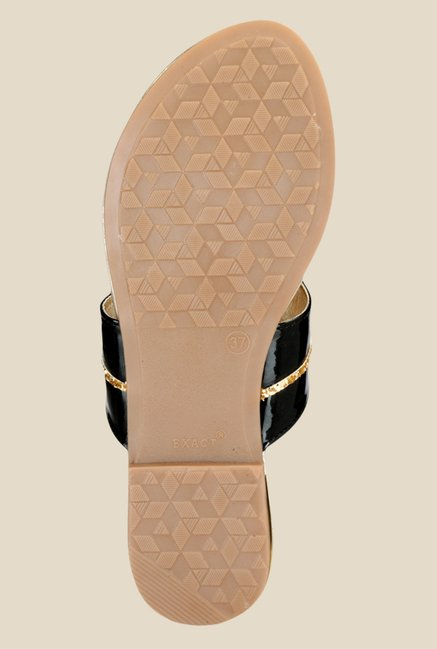 Nell Black & Golden T-Strap Sandals