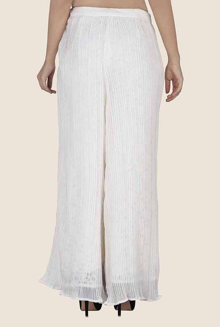Soie Off White Solid Palazzo