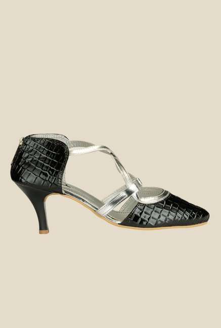 Nell Black & Silver Cross Strap Stilettos