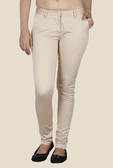 Soie Beige Low Rise Solid Trouser