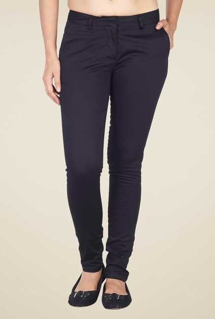 Soie Black Solid Trouser