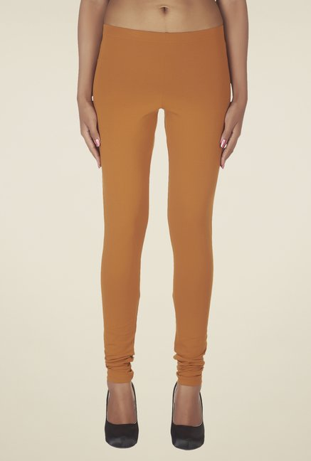 Soie Mustard Solid Cotton Leggings