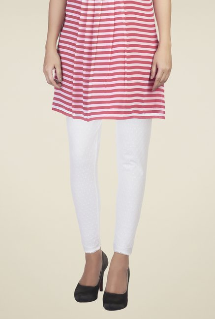 Soie White Self Print Leggings
