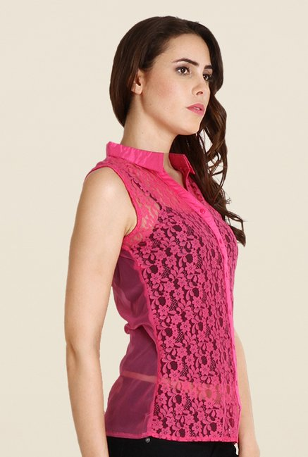 Soie Pink Lace Sleeveless Top