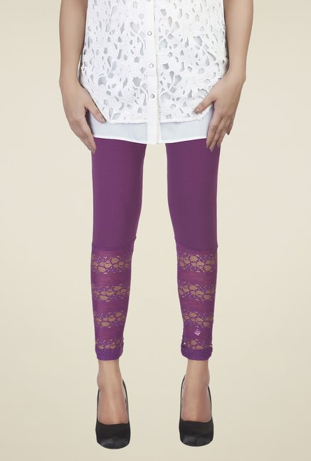 Soie Purple Lace Leggings
