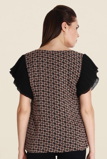 Soie Brown Floral Print Top