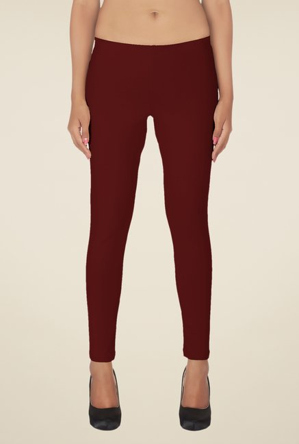 Soie Maroon, Black & White Solid Leggings (Pack of 3)