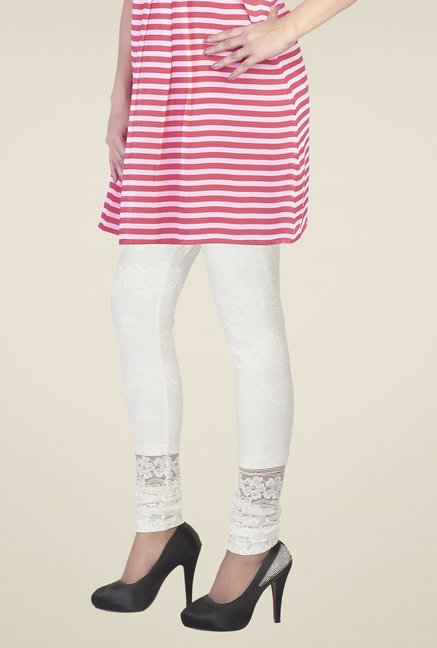Soie Off White Embroidered Leggings