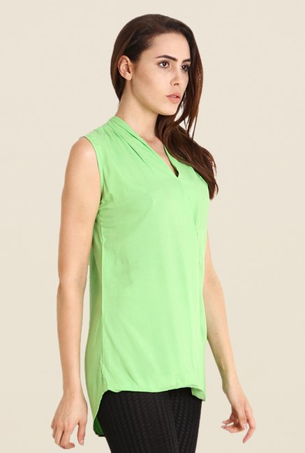 Soie Green Solid Sleeveless Top