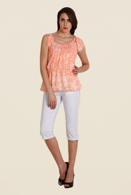 Soie Peach Printed Top