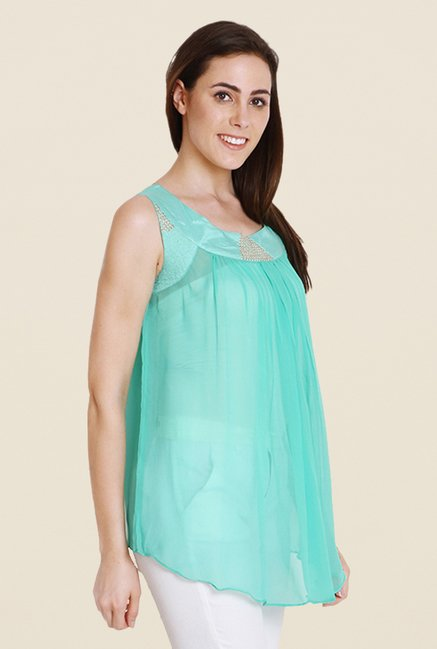 Soie Turquoise Solid Sleeveless Tunic