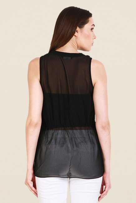 Soie Black Solid Sleeveless Top