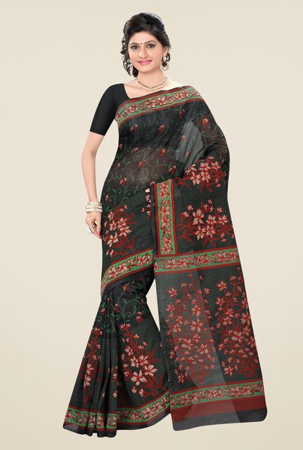 Triveni Black Floral Print Blended Cotton Saree