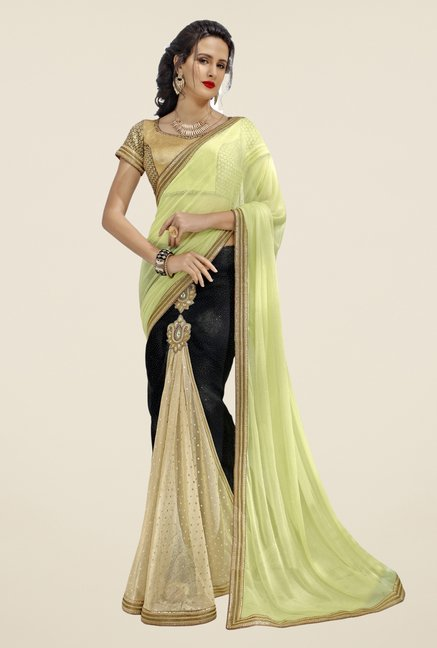 Triveni Green & Black Faux Georgette & Lycra Saree