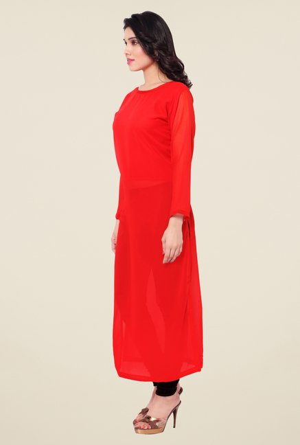 Triveni Red Solid Faux Georgette Kurta
