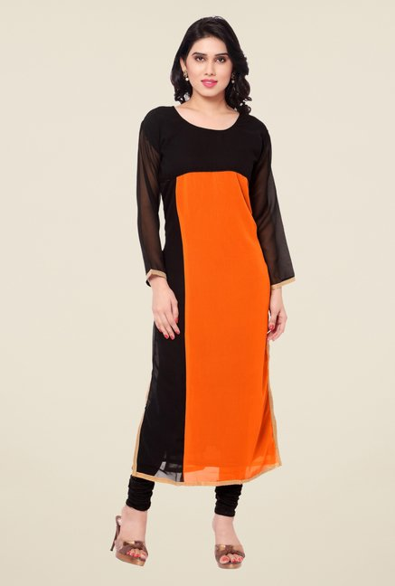 Triveni Black & Orange Solid Faux Georgette Kurta