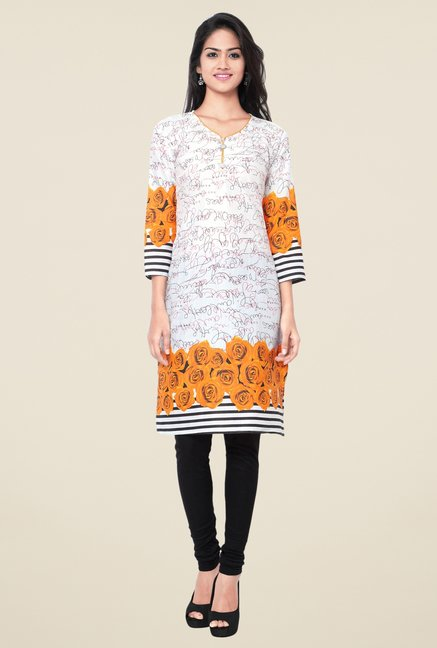 Triveni Off-White & Orange Printed Blended Cotton Kurta