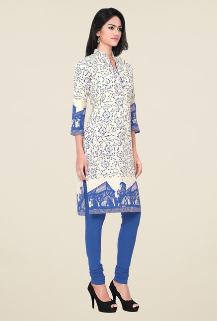 Triveni Beige & Blue Printed Blended Cotton Kurta