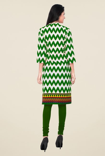 Triveni White & Green Printed Blended Cotton Kurta