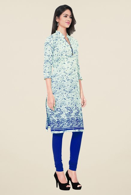 Triveni Blue Printed Blended Cotton Kurta