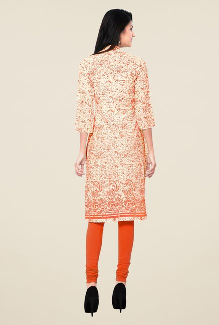 Triveni Orange Printed Blended Cotton Kurta