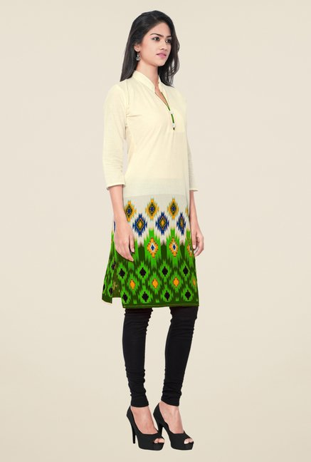 Triveni Beige & Green Printed Blended Cotton Kurta