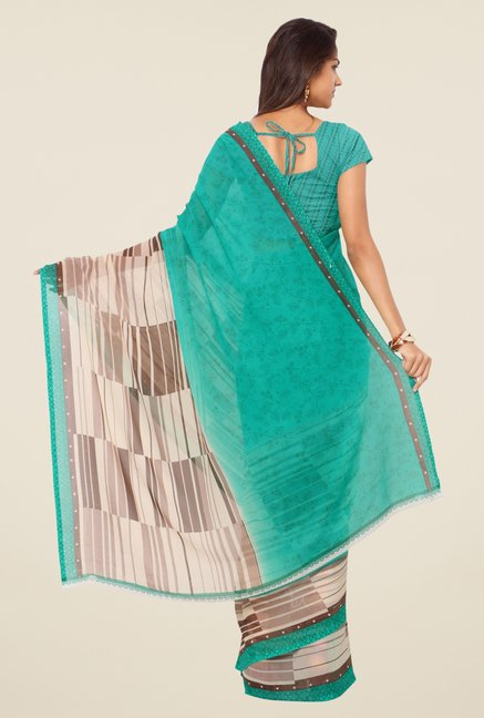 Triveni Turquoise Printed Faux Georgette Saree