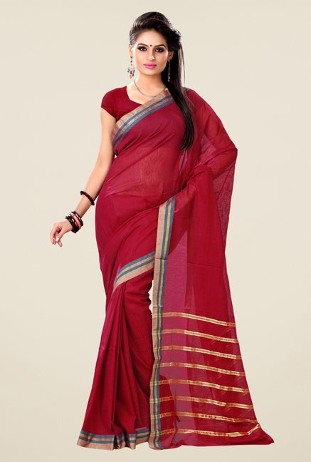 Triveni Maroon Solid Blended Cotton Saree