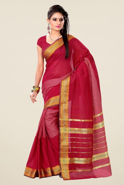 Triveni Dark Pink Solid Blended Cotton Saree