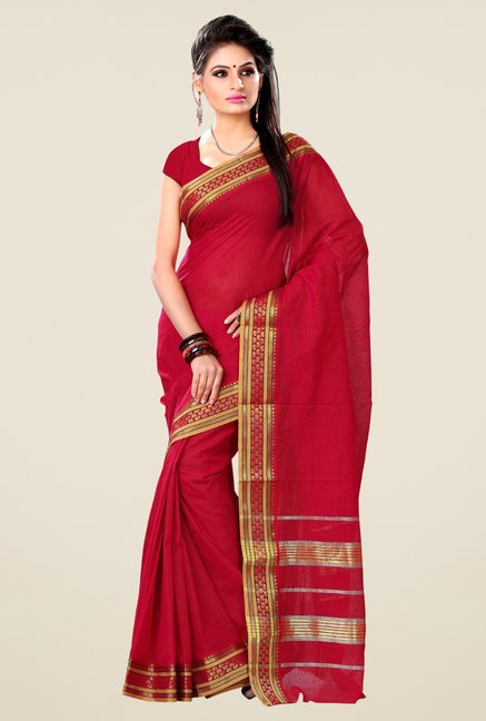 Triveni Red Solid Blended Cotton Saree