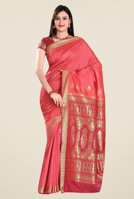 Triveni Pink Printed Art Silk Saree