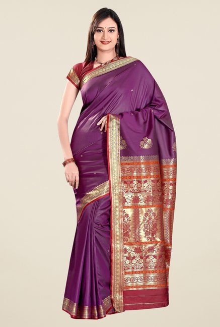 Triveni Purple Printed Art Silk Saree