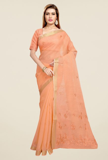 Triveni Orange Embroidered Blended Cotton Saree