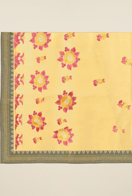 Triveni Yellow Embroidered Blended Cotton Saree