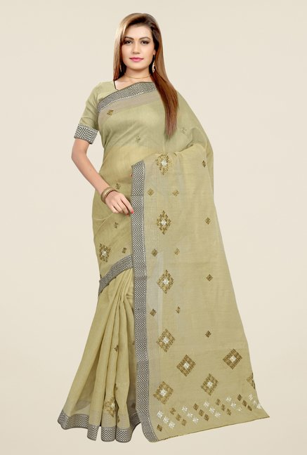 Triveni Khaki & Black Embroidered Blended Cotton Saree
