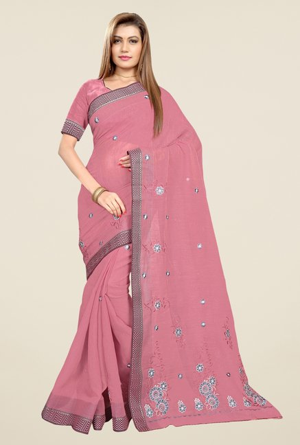 Triveni Pink Embroidered Blended Cotton Saree