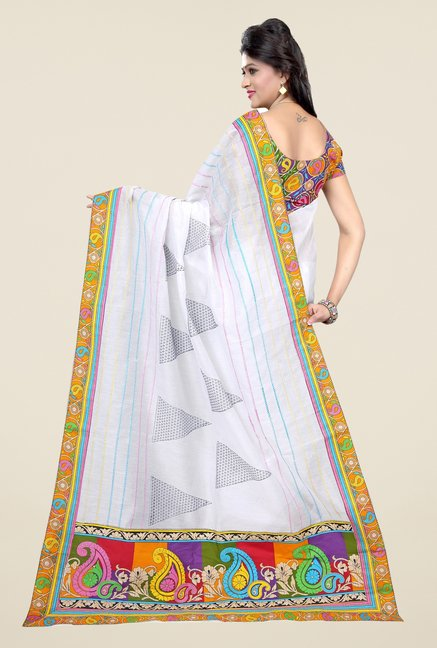 Triveni White Printed Blended Cotton Saree