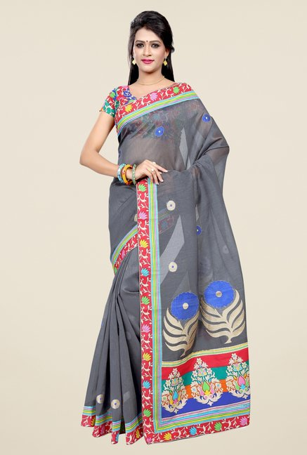 Triveni Grey Embroidered Blended Cotton Saree